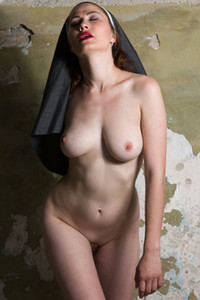 Model Judith Able in Playful nun
