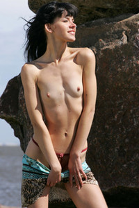Model Anais in Girl on the rocks