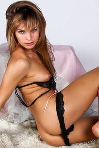 Model Martina A in Martina Black Lace Lingerie